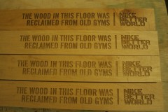 reclaimed wood floor laser engraved